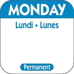 P101- DateIt  Food Safety 1 Inch Square Trilingual Permanent Restaurant Food Rotation Labels - Monday