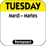 P102- DateIt  Food Safety 1 Inch Square Trilingual Permanent Restaurant Food Rotation Labels - Tuesday