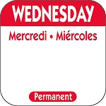 P103- DateIt  Food Safety 1 Inch Square Trilingual Permanent Restaurant Food Rotation Labels - Wednesday