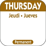 P104- DateIt  Food Safety 1 Inch Square Trilingual Permanent Restaurant Food Rotation Labels -Thursday