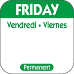 P105- DateIt  Food Safety 1 Inch Square Trilingual Permanent Restaurant Food Rotation Labels -Friday