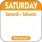 P106- DateIt  Food Safety 1 Inch Square Trilingual Permanent Restaurant Food Rotation Labels -Saturday