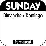 P107- DateIt  Food Safety 1 Inch Square Trilingual Permanent Restaurant Food Rotation Labels -Sunday