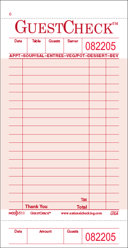 511 Medium Pink Single Copy Adams Restaurant Guest Checks by National Checking Company 18 lines with Beverage Backer