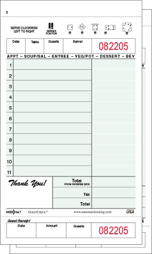 947SW Green Medium-Wide 11 Line Two-Part Carbonless Adams brand National Checking Company Restaurant Guest Checks with Beverage Backer and Tear off Receipt, Shrink Wrapped