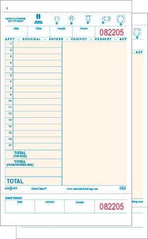 959SW Salmon Color Large Wide 17 Line Loose Two-Part Carbonless Adams brand Restaurant Guest Checks with Beverage Backer and Tear off Receipts