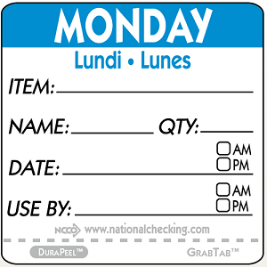 "DPIDU2201- DateIt™ Food Safety 2"" x 2"" Item/Date/Use By DuraPeel™ Labels- Monday"