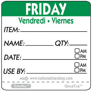 "DPIDU2205- DateIt™ Food Safety 2"" x 2"" Item/Date/Use By DuraPeel™ Labels- Friday"