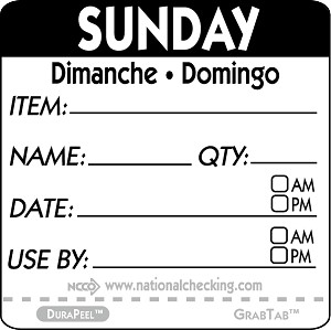 "DPIDU2207- DateIt™ Food Safety 2"" x 2"" Item/Date/Use By DuraPeel™ Labels- Sunday"