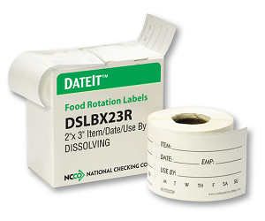 "DSLBX23- DateIt™ Food Safety 2"" x 3"" Shelf Life Dissolving Label- Box"