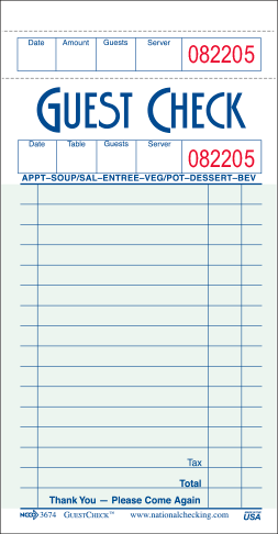 G3674 Medium Single Copy Cardboard Guest Checks, 16 Lines, 1 Part, Green National Checking Company
