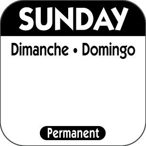P107- DateIt™ Food Safety 1 Inch Square Trilingual Permanent Restaurant Food Rotation Labels -Sunday single rolls (1,000)
