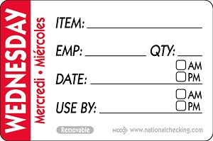 "RIDU2303- DateIt™ Food Safety 2"" x 3"" Trilingual Item/Date/Use By/Employee/Quantity Removable Food Rotation Labels- Wednesday"