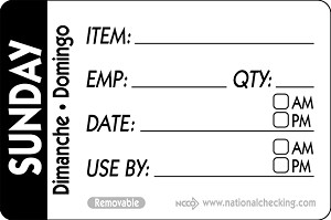 "RIDU2307- DateIt™ Food Safety 2"" x 3"" Trilingual Item/Date/Use By/Employee/Quantity Removable Food Rotation Labels- Sunday"