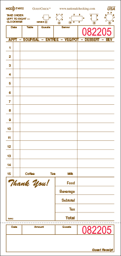 T4932SP GUMMED board style 1 part restaurant guest checks from National Checking, tan, 15 lines