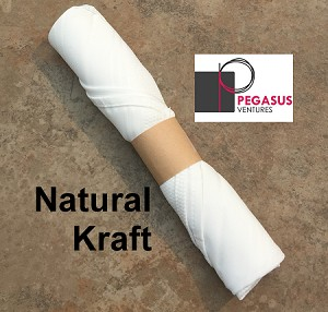 "Natural Kraft restaurant napkin bands to wrap with linen napkins- 20,000 1.5"" x 6"""