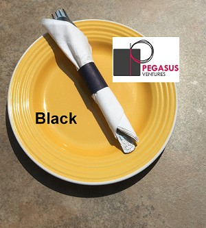 "Black restaurant napkin bands to wrap with paper napkins- 2,000 1.5"" x 4.25"""