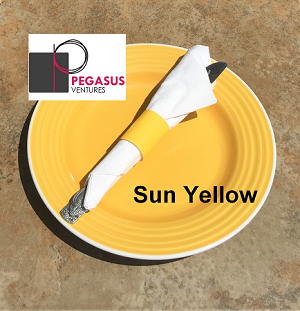 Paper restaurant napkin bands product ID  2015001,  1.5 inches wide by 4.25 inches long,  sun yellow  to wrap restaurant silverware with paper napkins, quantity 20000
