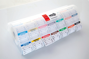 "R22KIT LABELOCKER™  Plastic Label Dispenser w/ 7 Rolls of the 2""x2"" Day Of The Week Removable"